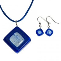 Set glass jewelry blue OWL - 0302
