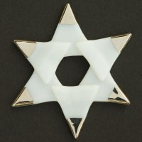 Christmas glass star white - silver spikes