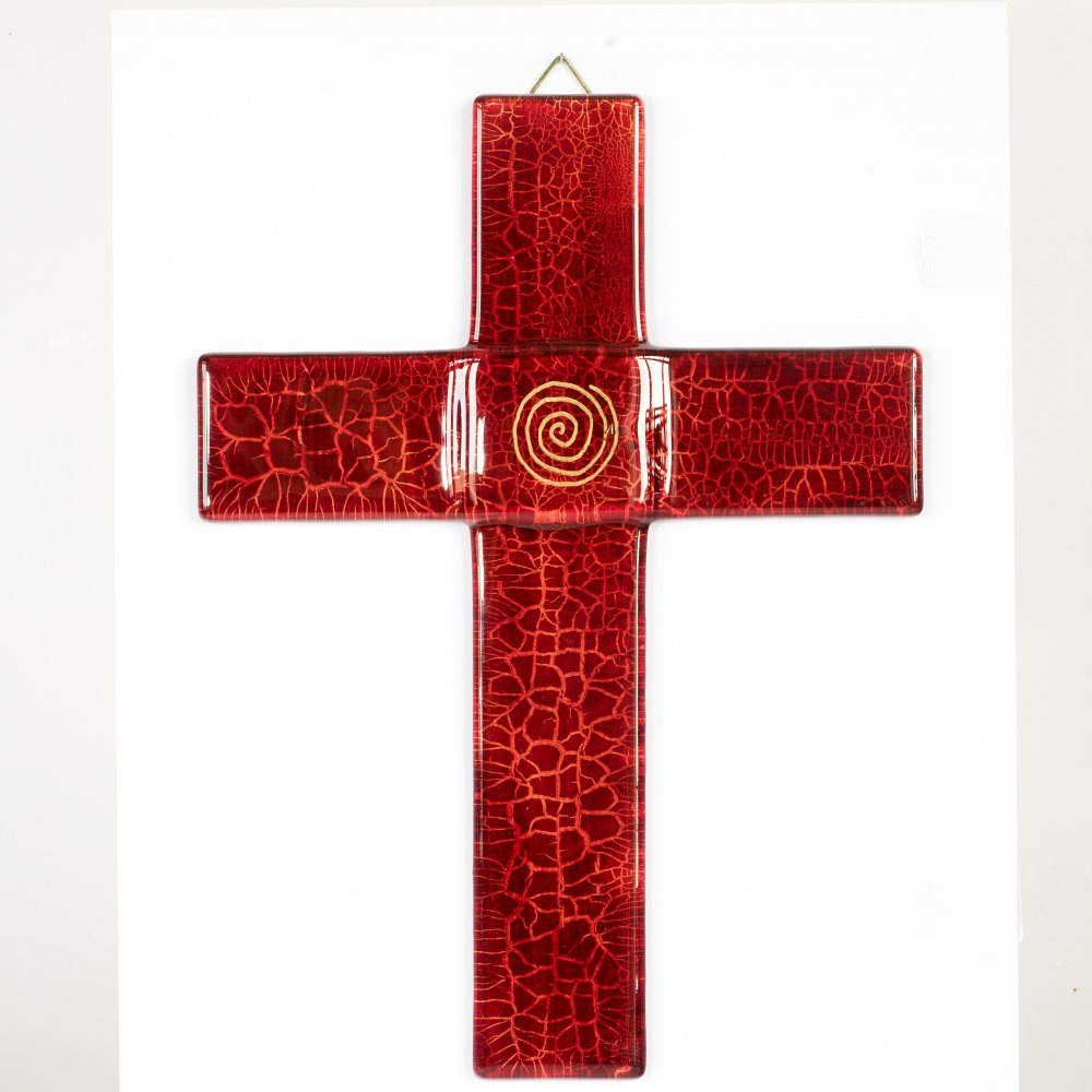 Ruby glass wall cross - with a spiral