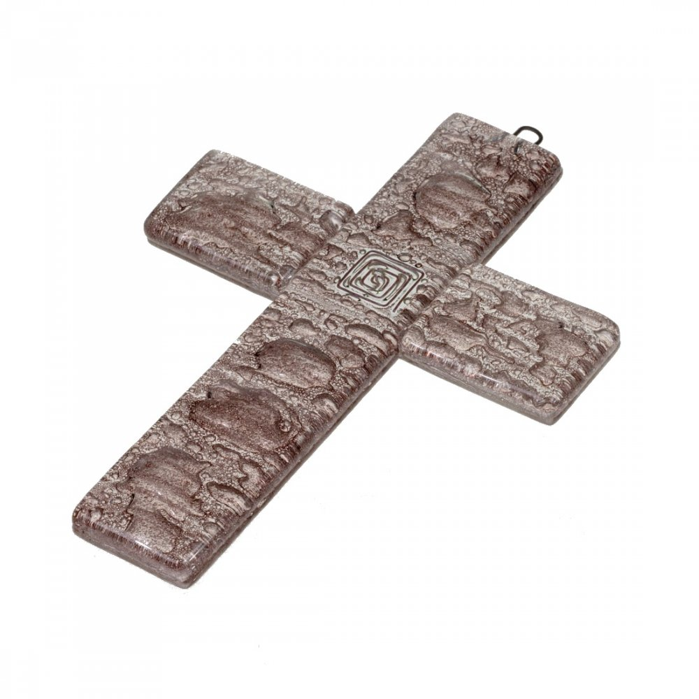 Small brown glass wall cross – with spiral