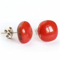 Glass earrings red PUZETY N1831