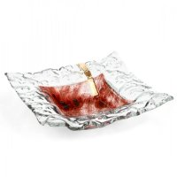 Glass bowl TERRA brown with lace – square, strip