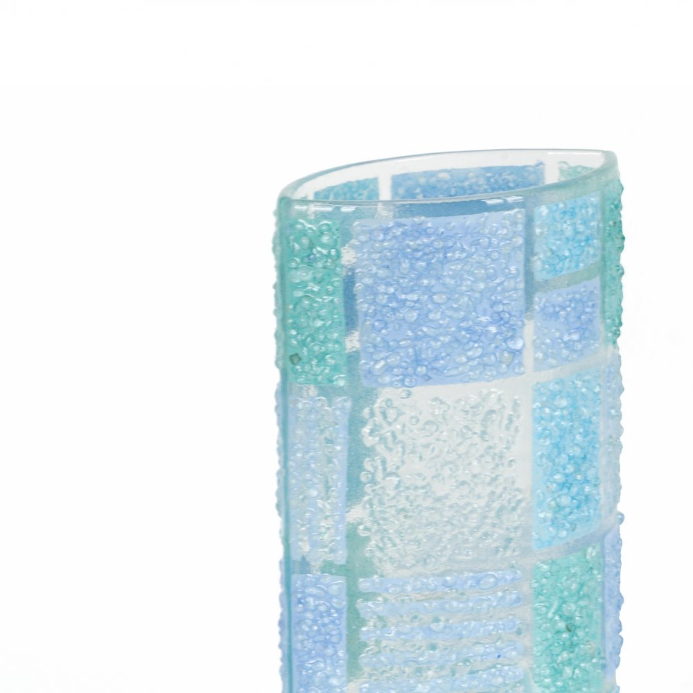 Blue glass vase CORAL KARO