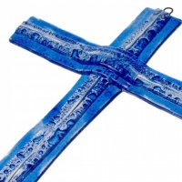 Dark blue layered glass wall cross