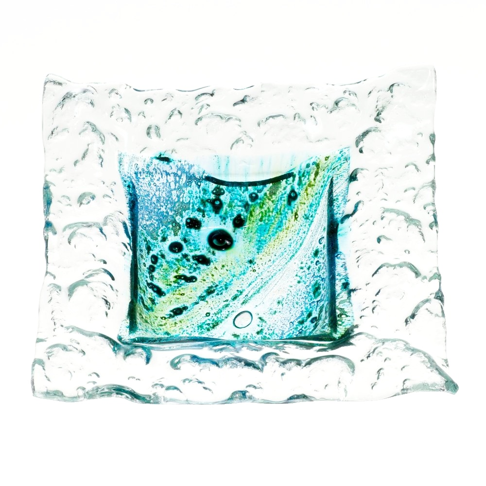 Glass bowl MADEIRA with lace – square