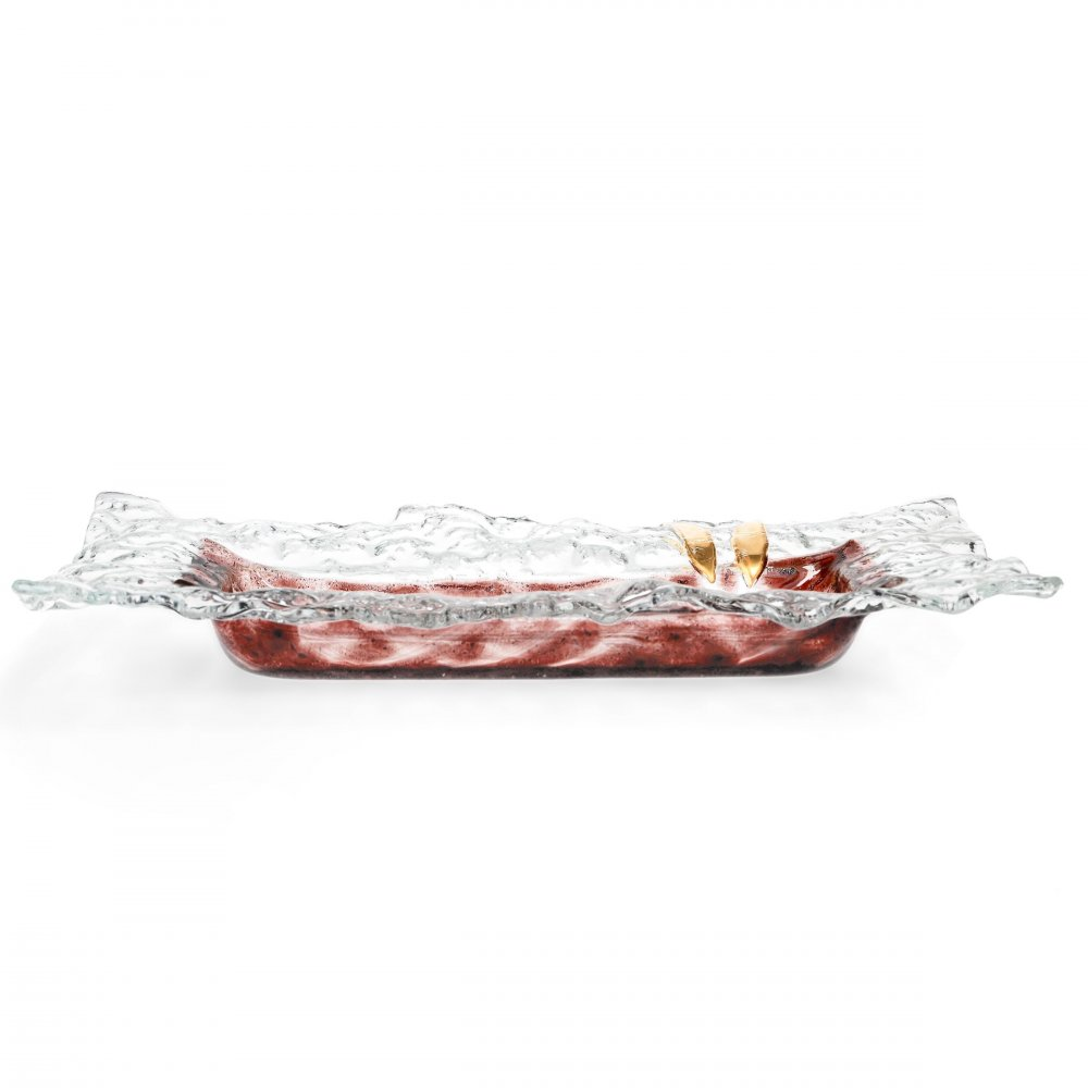 Glass bowl TERRA brown with lace – rectangle