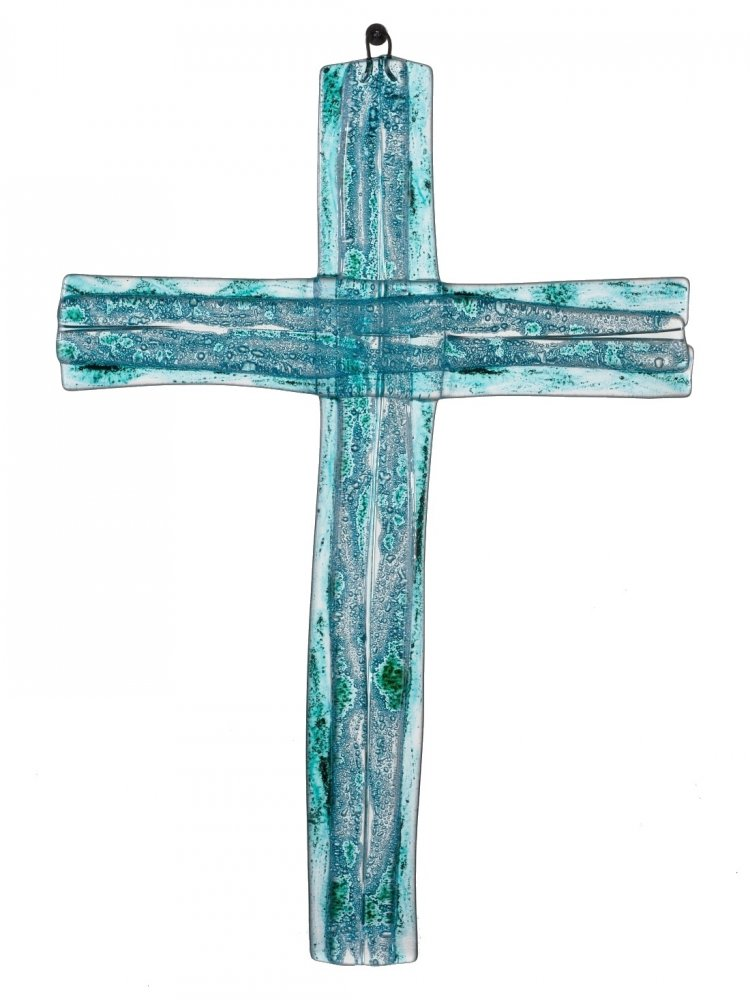 Turquoise layered glass wall cross