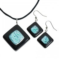 Set of black and turquoise glass jewelry NIGHT OWL - 0802