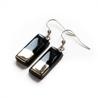 Silver and black glass earrings - rectangle N5102
