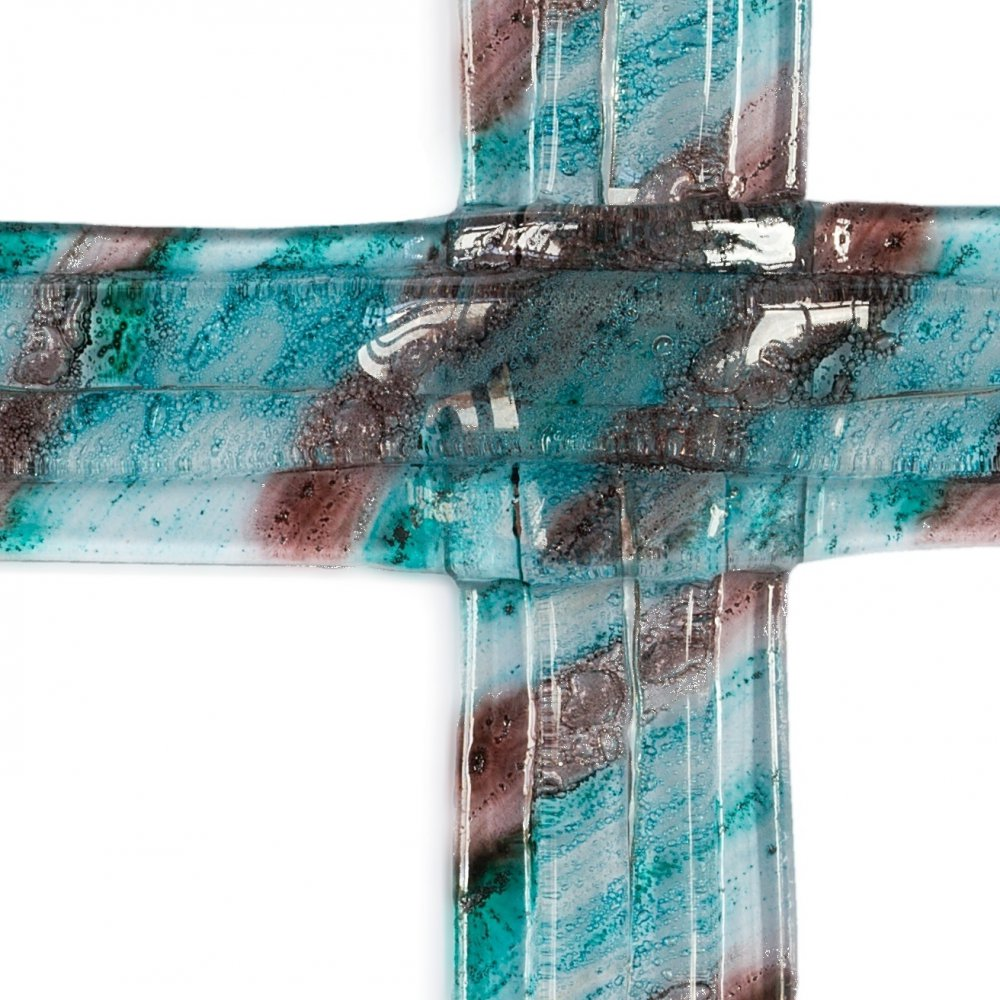 Turquoise-brown layered glass wall cross