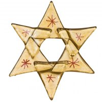 Christmas glass ornament star gold 01 - red stars