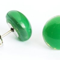 Glass earrings green PUZETY N1810