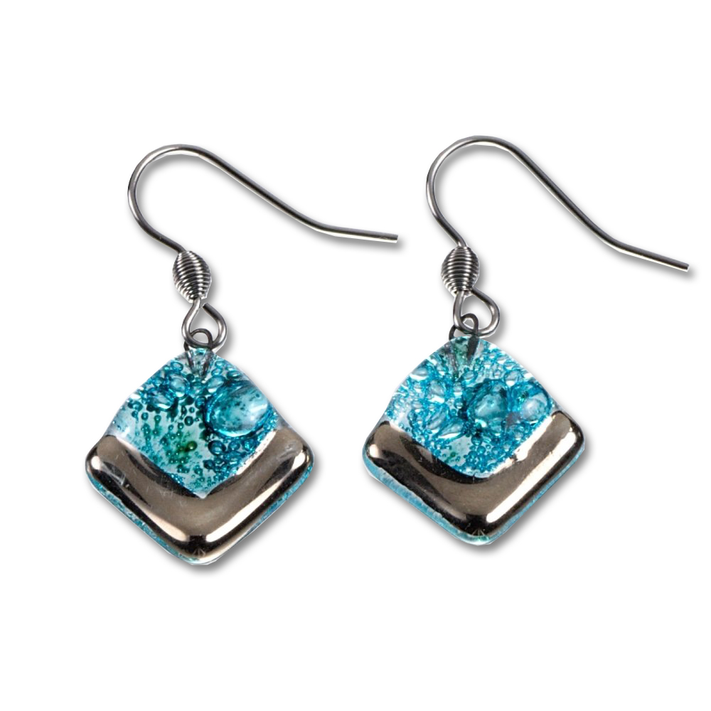 Glass earrings PLATINUM turquoise  NP0101