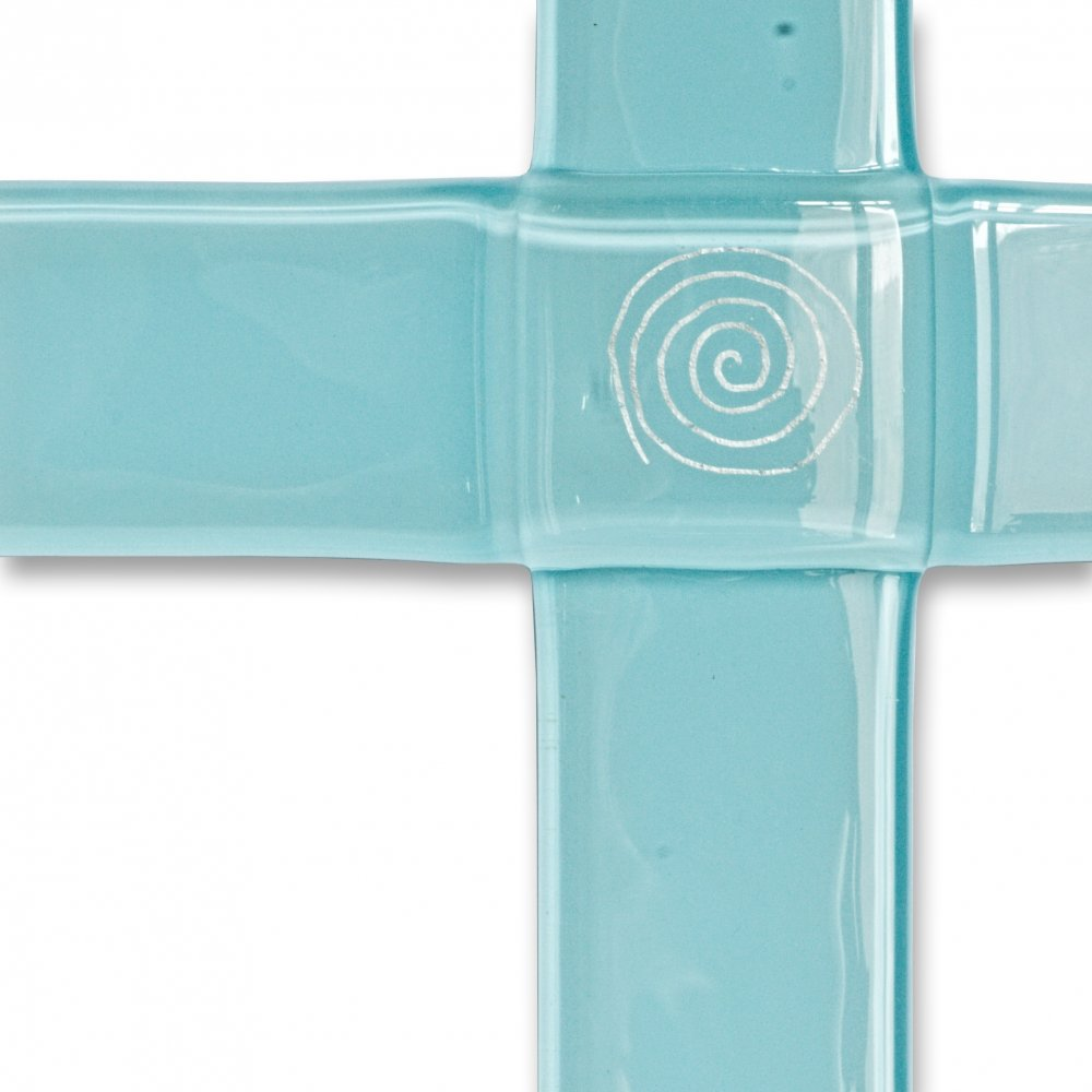 Glass christening cross pale blue - with spiral