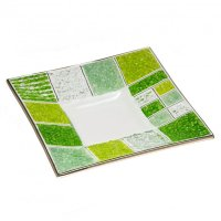 Green glass plate CORAL square