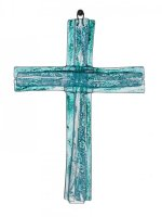 Small turquoise layered glass wall cross
