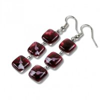 Glass earrings wine-coloured CHIARA N1205