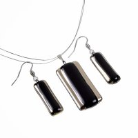Set of  glass jewelery black PLATINUM - 0802