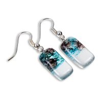Glass earrings turquoise and brown MEMPHIS N0408
