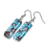 Glass earrings turquoise and brown MEMPHIS N0409