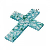 Small turquoise glass wall cross - semicircles