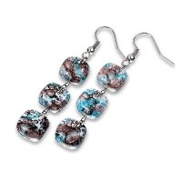 Glass earrings turquoise and brown MEMPHIS N0402