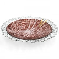 Glass bowl TERRA brown with lace – round