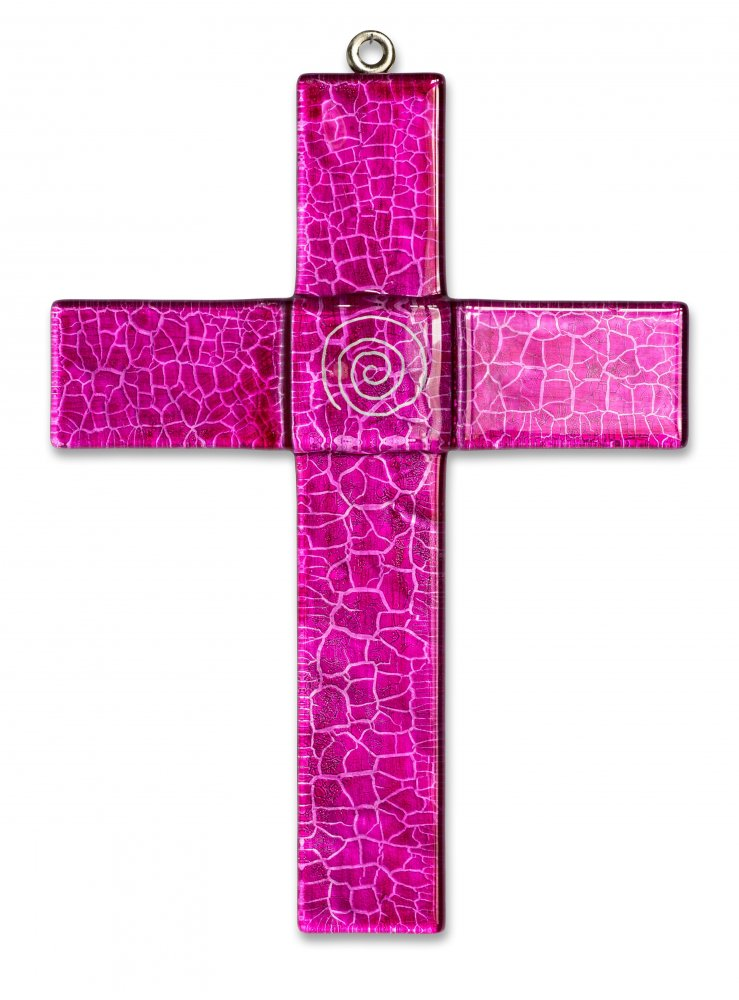 Glass cross on wall MAGENTA 1021 - with spiral