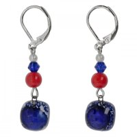 Dark blue glass earrings with beads NK0303