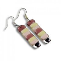 Glass earrings clear DOTS N004