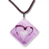 Pink diamond glass pendant HELENE P1106