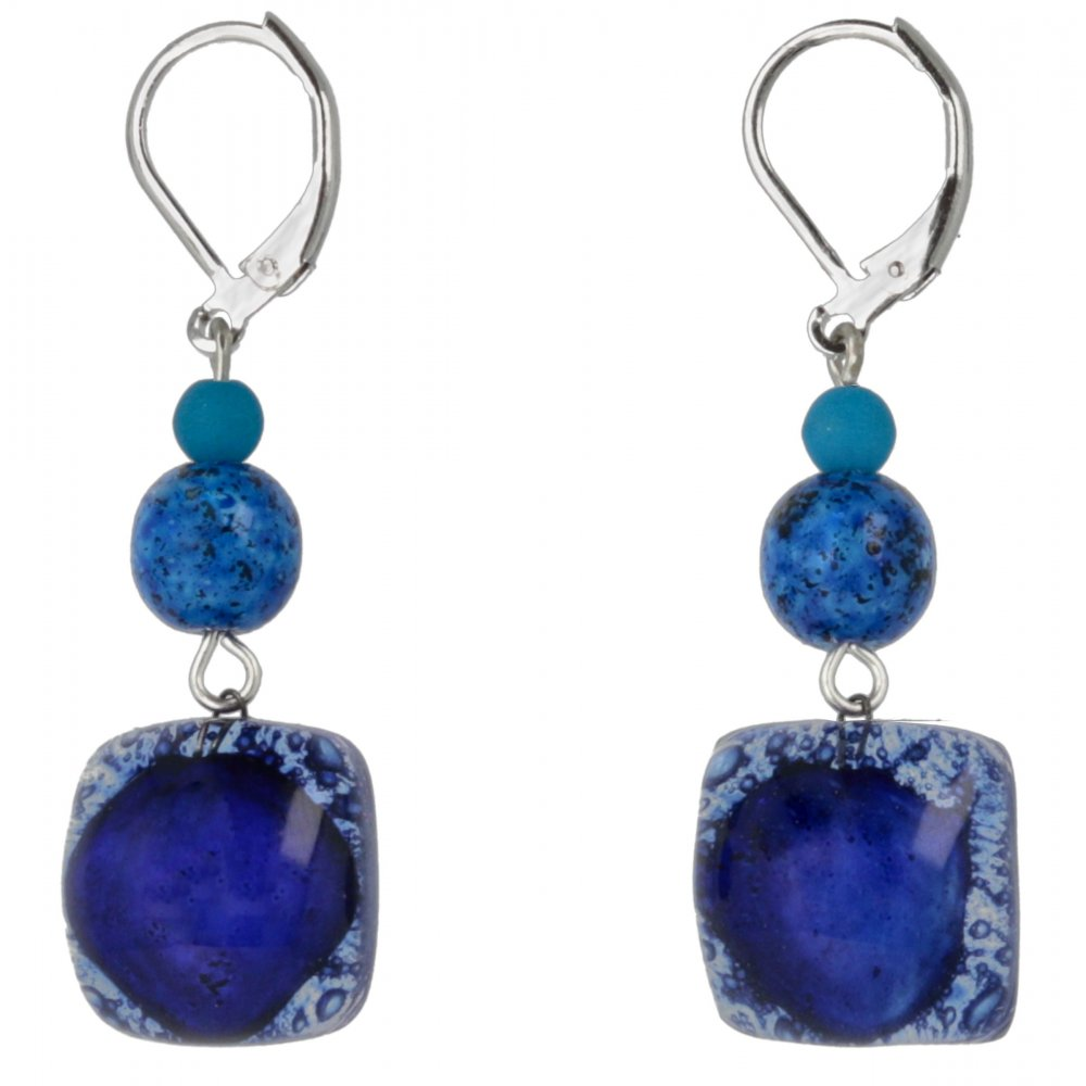 Dark blue glass earrings with beads NK0302