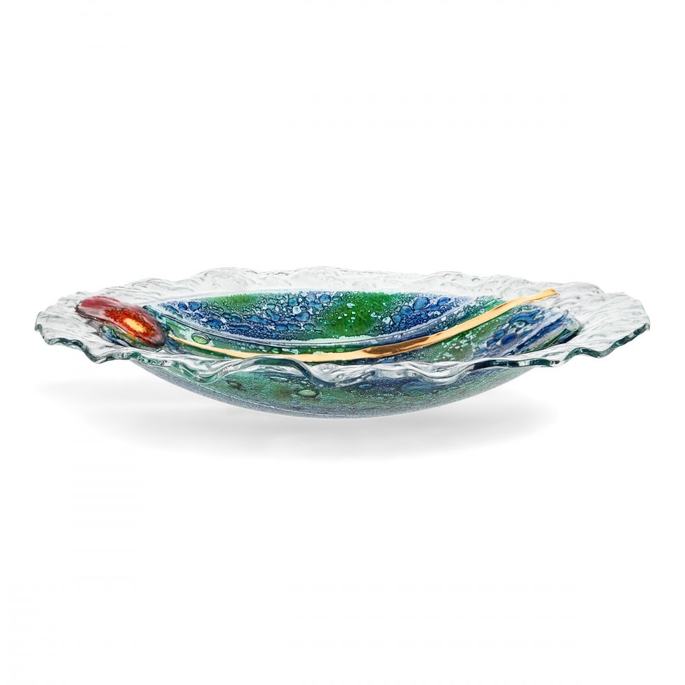 Round glass bowl MADEIRA with lace - flower
