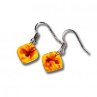 Glass earrings yellow JULIET N1309
