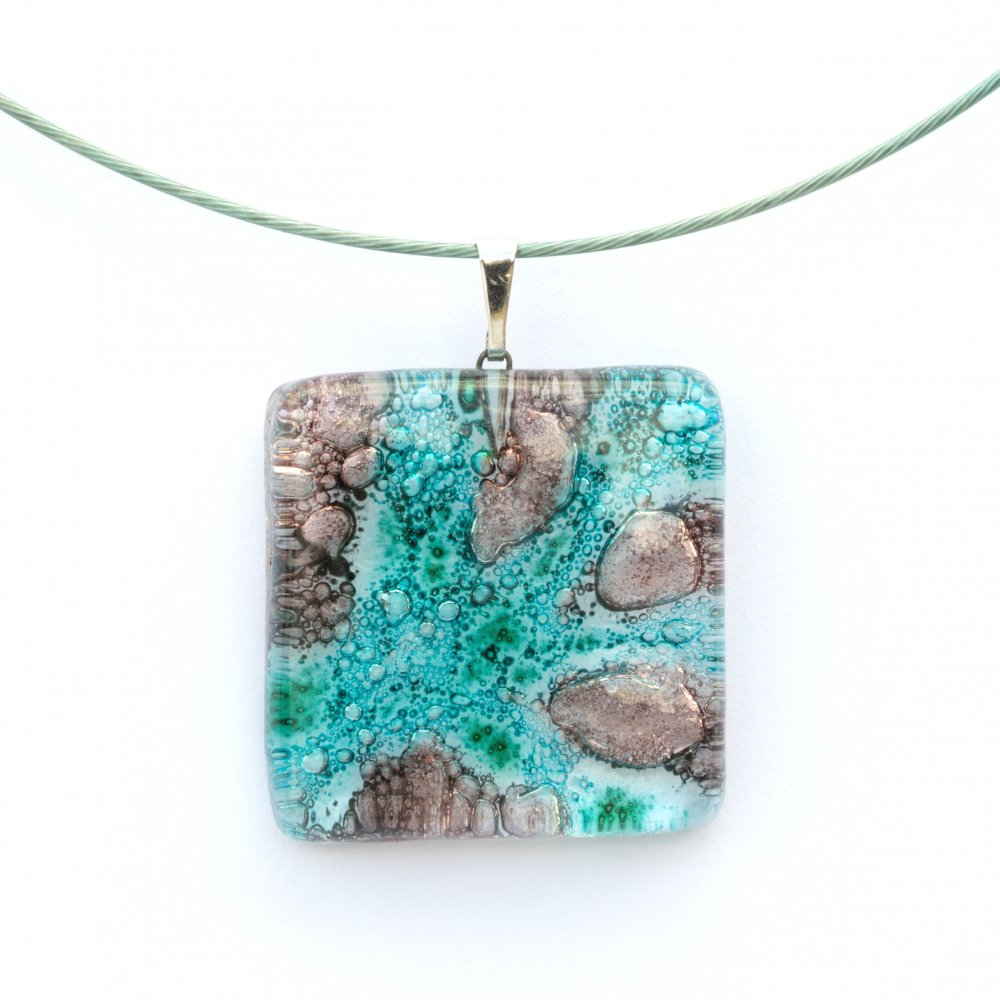 Glass pendant turquoise brown square MEMPHIS P0403