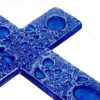 Small dark blue glass wall cross