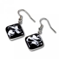 Glass earrings black KIM N0806