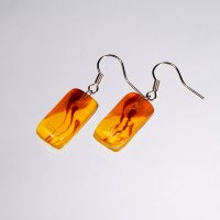 Glass earrings yellow JULIET N1307