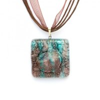 Glass pendant turquoise-brown square MEMPHIS P0404