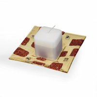 Glass red-yellow candlestick MORN CITY with scented candle