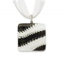 Glass pendant square black and white LENORE P1702