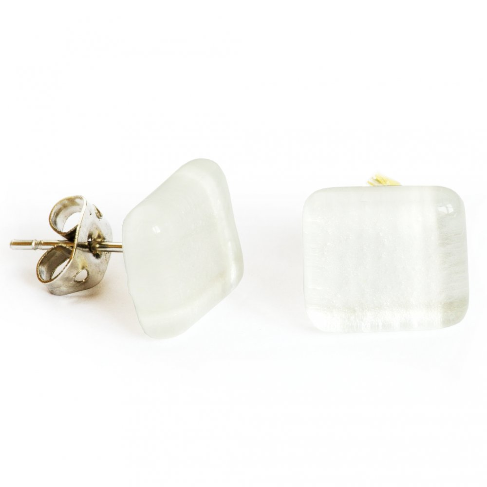White metallic wedding glass earrings PUZETY N1824