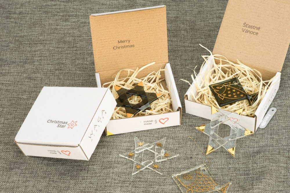 Christmas glass star clear - gold spikes
