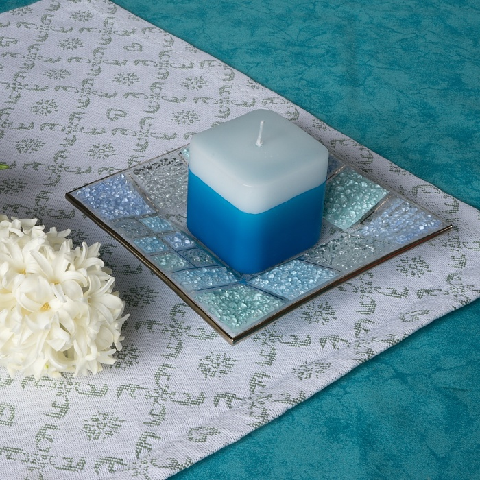 Glass blue candlestick KORAL KARO with scented candle