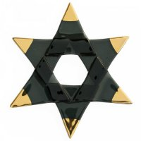 Christmas glass star black - gold spikes