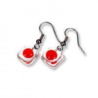 Clear glass earrings DOTS SLEV_N_016