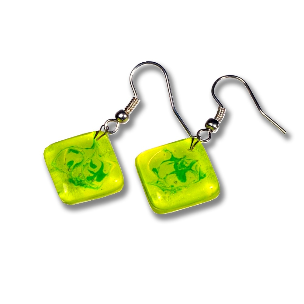 Glass earrings green DAISY N1402