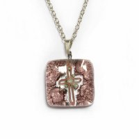 Brown square glass pendant TERRA P0209