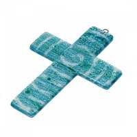 Small turquoise glass wall cross - spiral