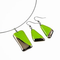Jewelry set green PLATINUM 1401